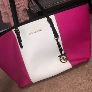 Hot Pink and White Michael Kors Tote